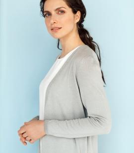 Long merino/cashmere/silk cardigan