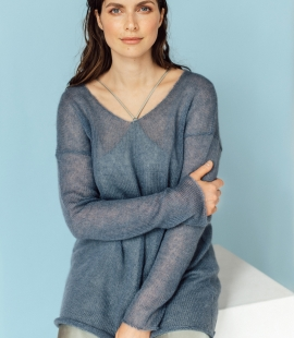 Mohair and silk blend V-neck sweater