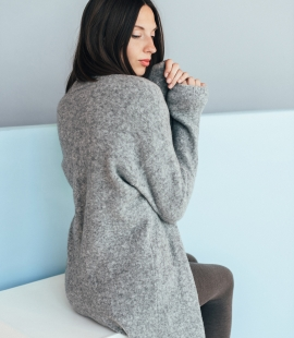 Long merino blend coat with pockets