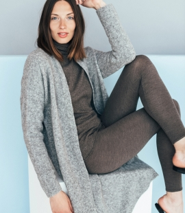 Merino wool mid length cardigan with pockets