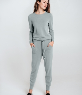 SET: trousers and round neck sweater from Merino and Cashmere blend
