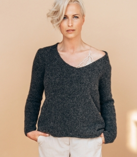 Alpaca and wool blend V-neck sweater