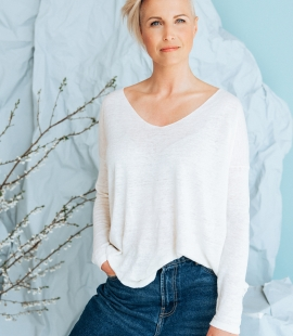 Linen and silk blend V-neck sweater