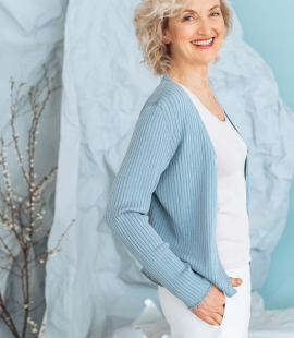Silk and cotton long sleeve cardigan with buttons