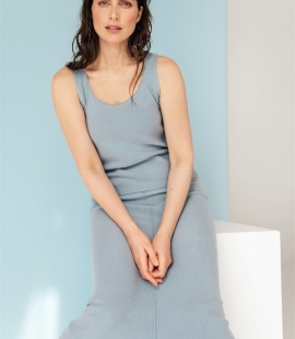 Midi length merino / cashmere / silk skirt