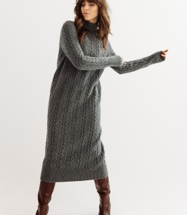Lambswool cable pattern long dress