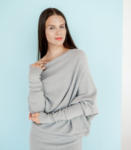 Asymmetric alpaca wool sweater