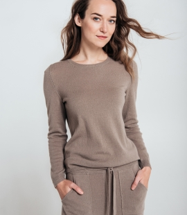Classic cashmere and merino blend round neck sweater