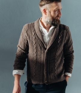Lambswool cable pattern cardigan