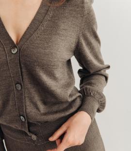 Short merino wool cardigan