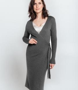 Pusgara merino vilnas pārsienamā kleita