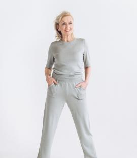 Merino/cashmere/silk short sleeve top