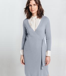 Pusgara kašmira un merino vilnas apvienojuma pārsienamā kleita
