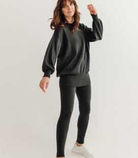 Oversized merino vilnas džemperis ar apaļu kakla izgriezumu