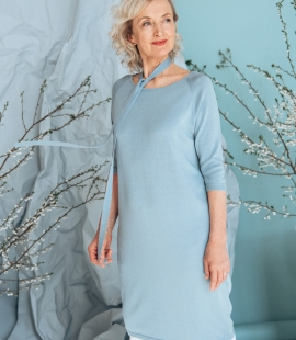 Silk and cotton mid length sleeve dress