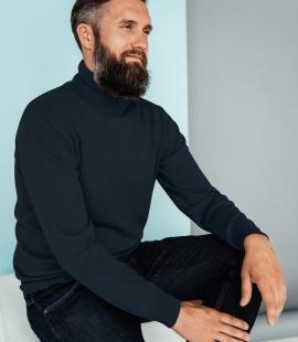 Merino vilnas vīriešu džemperis ar augstu apkakli