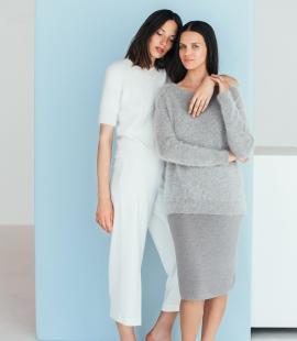 Classic angora wool short sleeve sweater