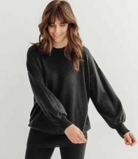 Oversized merino wool round neck sweater