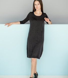 Merino wool dress with 3/4 length sleeves