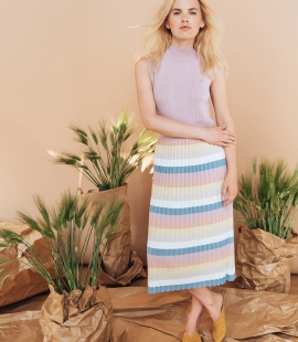 Striped silk and cotton gofre skirt