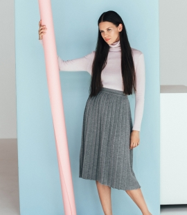 Merino wool pleated midi skirt