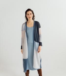 Long mohair/silk colorful cardigan