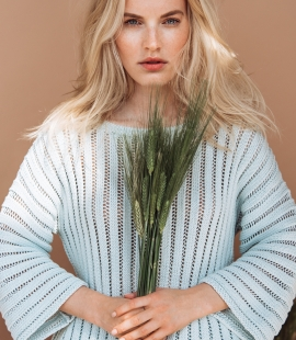 Silk and cotton round neck sweater