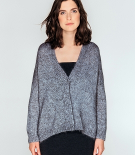 Short oversized cardigan from mohair, merino wool and silk blend