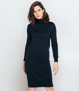 Midi turtle neck merino wool dress