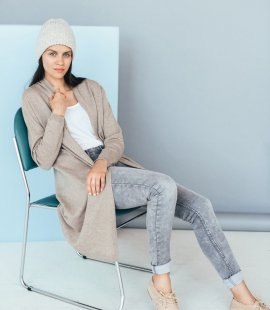 Long classic cashmere blend cardigan with pockets