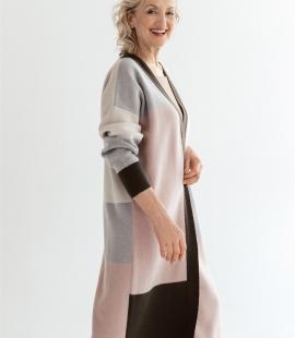 Colour block cashmere wool blend cardigan