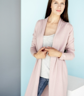 Long classic cashmere blend cardigan