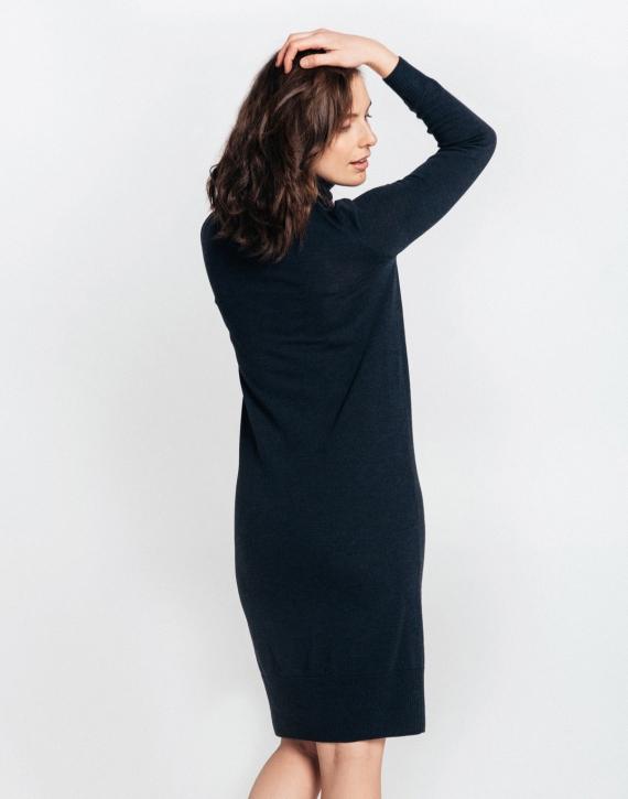 Pusgara merino vilnas kleita ar augstu apkakli