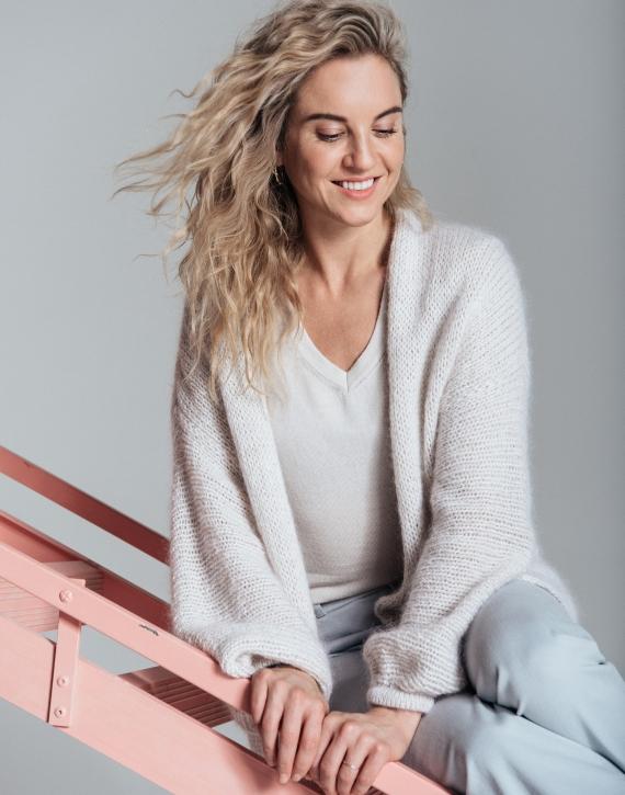 Kidmohair, merino wool and silk blend oversized cardigan