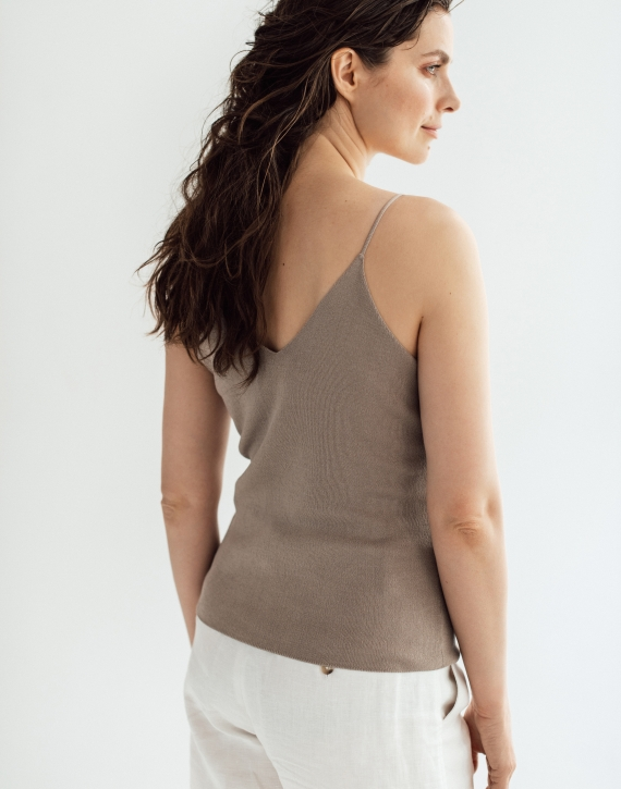 Silk/cotton sleeveless top