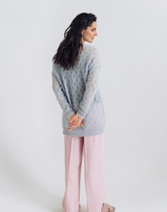 Oversized mohair and silk blend lace sweater
