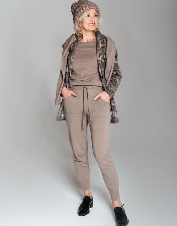 Merīnvilnas un kašmira sajaukuma bikses ar kabatām