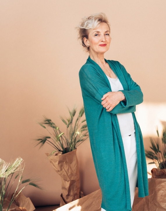 Linen and silk mid length cardigan