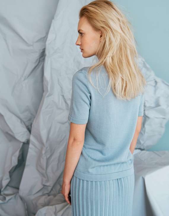 Classic silk and cotton short sleeve sweater