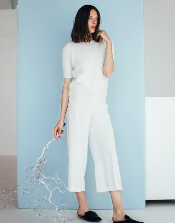 Classic angora wool short sleeve sweate