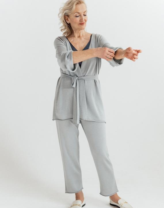 Midi merino/cashmere/silk cardigan with belt