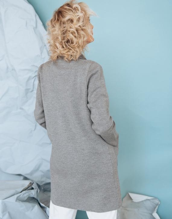 Merino wool mid length coat with pockets