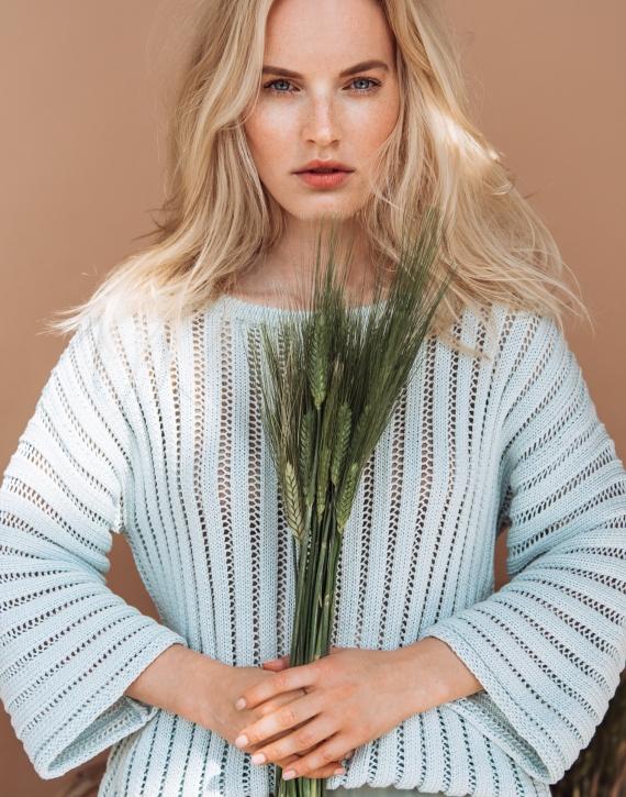 Silk and cotton round neck sweater