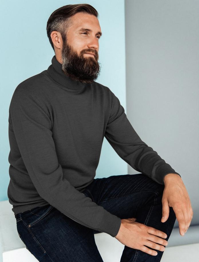 Merino vilnas vīriešu džemperis ar augstu apkakli. Attēls Nr. 8