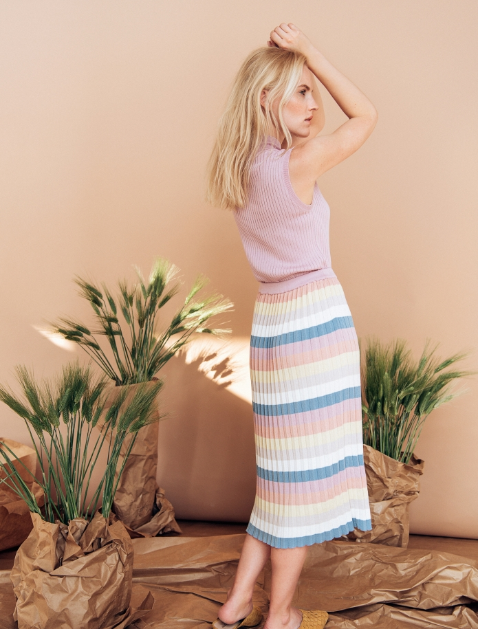 Striped silk and cotton gofre skirt. Photo Nr. 3