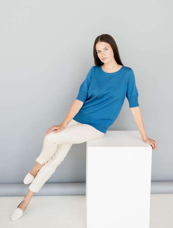 Merino knitted short sleeve sweater. Photo Nr. 15