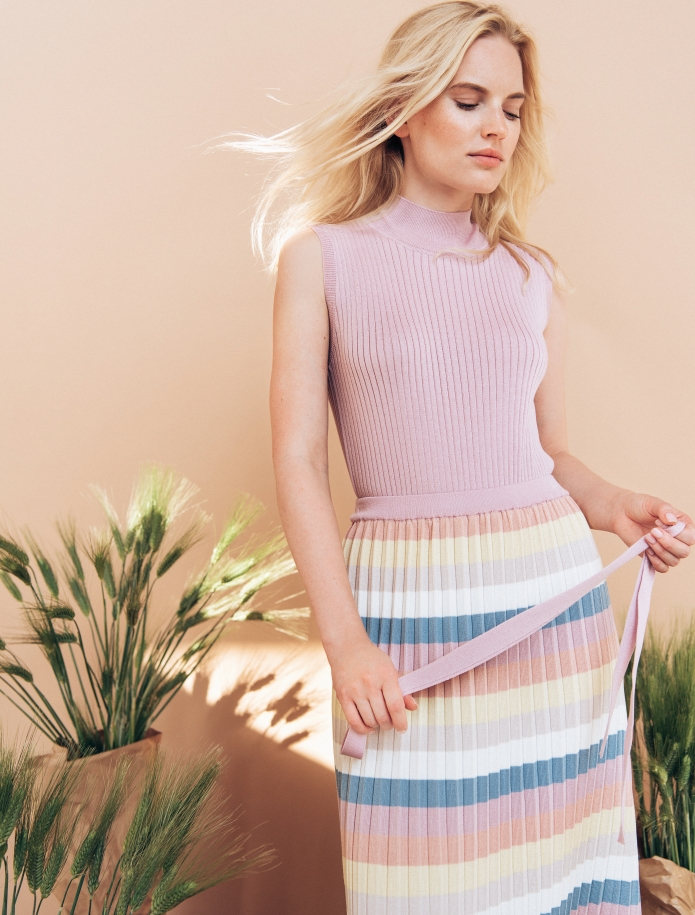 Striped silk and cotton gofre skirt. Photo Nr. 2