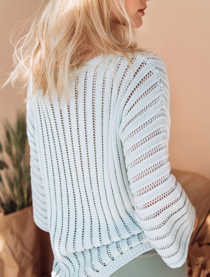 Silk and cotton round neck sweater. Photo Nr. 3
