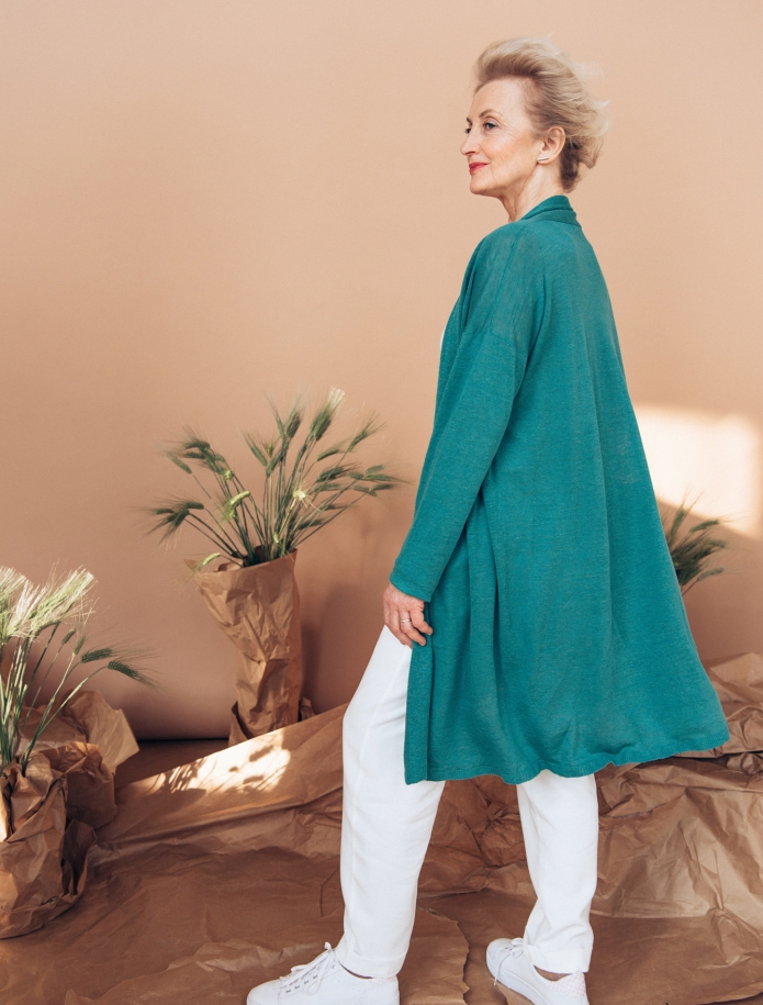Linen and silk mid length cardigan. Photo Nr. 3