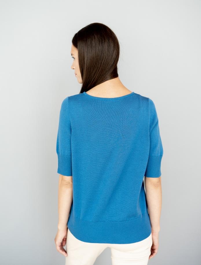 Merino knitted short sleeve sweater. Photo Nr. 14